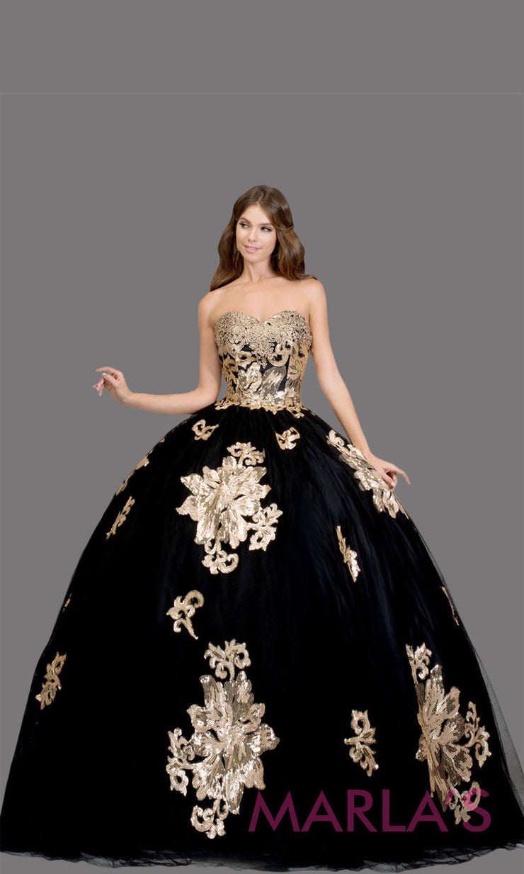 Long strapless black quinceanera ballgown w/ gold lace.This black ball gown can be worn for Sweet 16 Birthday, Sweet 15, Engagement Ball Gown, Wedding Reception Dress, Debut or 18th Birthday. Perfect black indowestern gown.Plus sizes Available