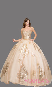 Long strapless champagne quinceanera ballgown w/gold lace.This ball gown can be worn for Sweet 16 Birthday, Sweet 15, Engagement Ball Gown, Wedding Reception Dress, Debut or 18th Birthday. Perfect gold indowestern gown.Plus sizes Available