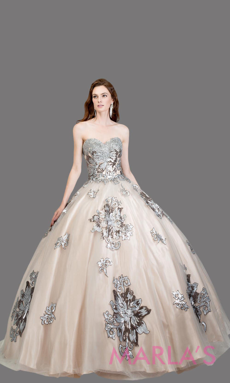 6629.1L-Long strapless nude quinceanera ballgown w/silver lace.This nude ball gown can be worn for Sweet 16 Birthday, Sweet 15, Engagement Ball Gown, Wedding Reception Dress, Debut or 18th Birthday. Perfect nude indowestern gown.Plus sizes Available