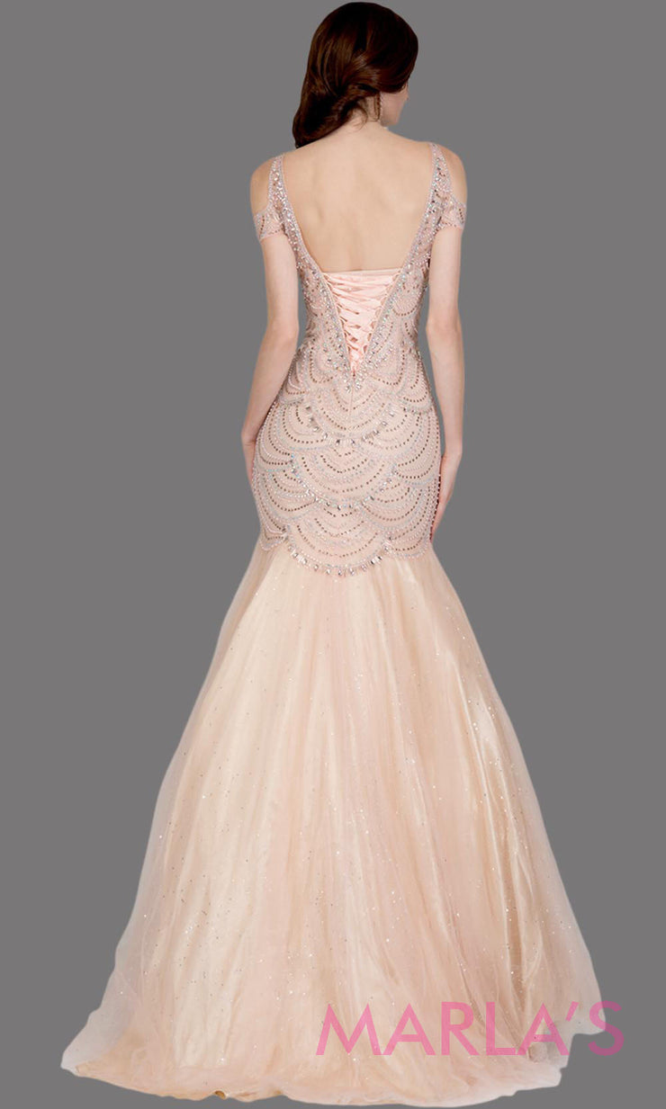 Back of Long blush pink fitted beaded mermaid evening gown w/tulle skirt. This high neck evening gown is perfect as prom dress, wedding reception or engagement dress, formal wedding guest dress, pink indowestern formal evening gown.Plus sizes avail