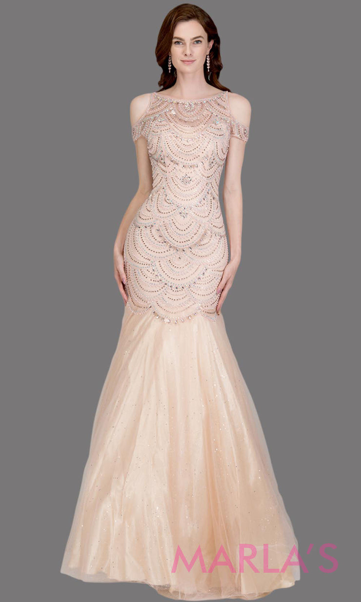 Long blush pink fitted beaded mermaid evening gown w/tulle skirt. This high neck evening gown is perfect as prom dress, wedding reception or engagement dress, formal wedding guest dress, pink indowestern formal evening gown.Plus sizes avail