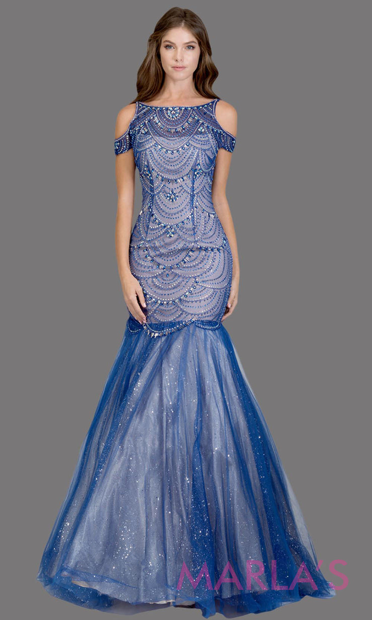 Long royal blue fitted beaded mermaid evening gown w/tulle skirt. This high neck evening gown is perfect as prom dress, wedding reception or engagement dress, formal wedding guest dress, pink indowestern formal evening gown.Plus sizes avail