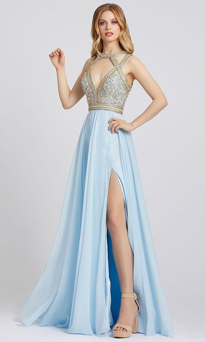 Mac Duggal - 66445A Beaded Cutout Plunged Neck A-Line Gown In Blue