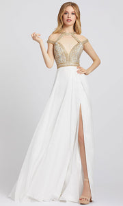 Mac Duggal - 66445A Beaded Cutout Plunged Neck A-Line Gown In White & Ivory