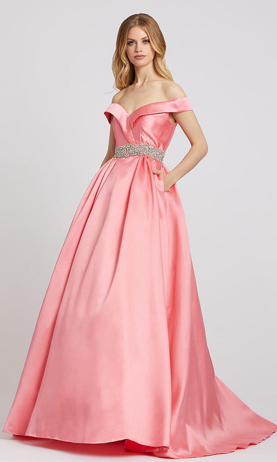 Mac Duggal - 66717L Crystal Beaded Off Shoulder Ballgown In Coral & Orange