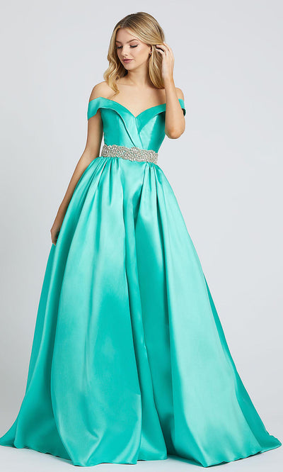 Mac Duggal - 66717L Crystal Beaded Off Shoulder Ballgown In Green