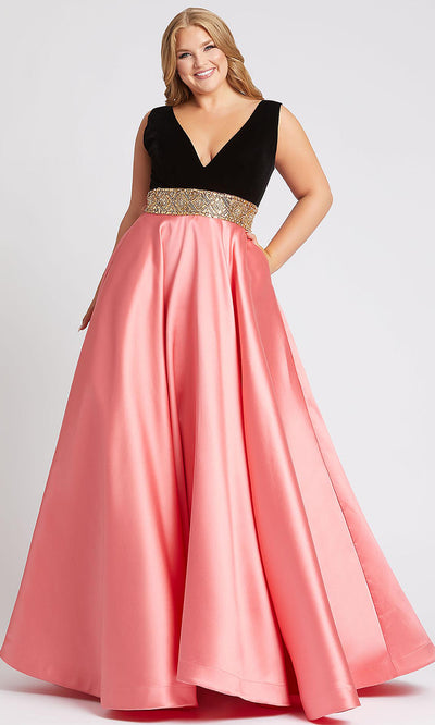 Mac Duggal - 66787F Sleeveless V Neck Jewel Waist Ballgown In Coral & Orange
