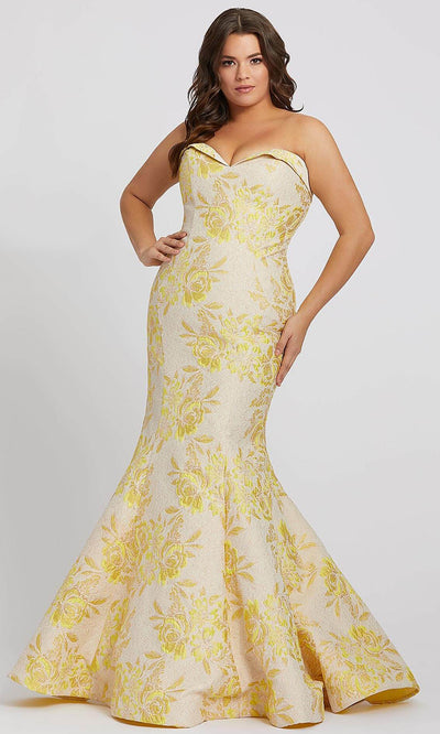 Mac Duggal - 66801F Floral Print Sweetheart Mermaid Gown In Yellow