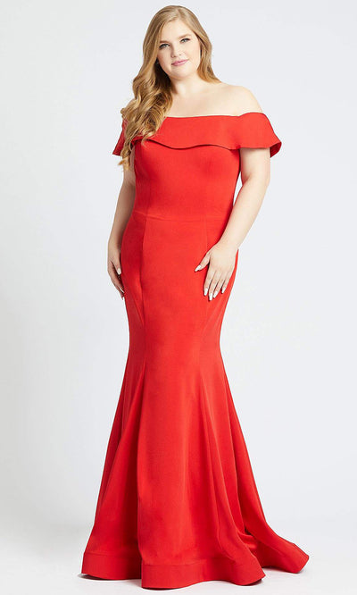Mac Duggal - 66812F Crepe Jersey Off-Shoulder Trumpet Dress In Red
