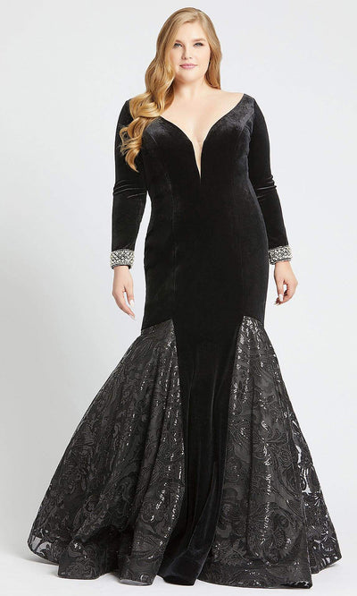 Mac Duggal - 66813F Sequin Lace Plunging V Neck Gown In Black