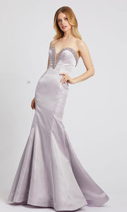 Mac Duggal - 66836L Bejeweled Strapless Long Mermaid Dress In Purple
