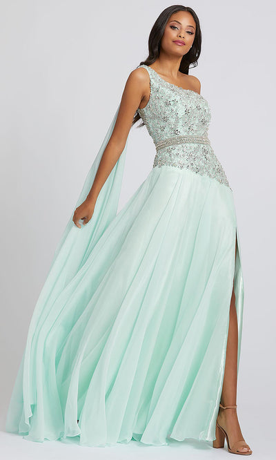 Mac Duggal - 66846A Bejeweled One Shoulder High Slit Dress In Green