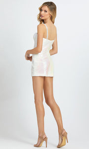 Mac Duggal - 66858A Sequin Sweetheart Romper With Overskirt In White