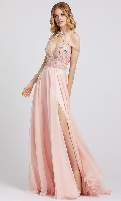 Mac Duggal - 66879A Beaded Cutout High Slit Chiffon Dress In Pink