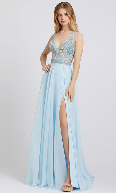 Mac Duggal - 66881A Beaded Halter A-Line Dress With Slit In Blue