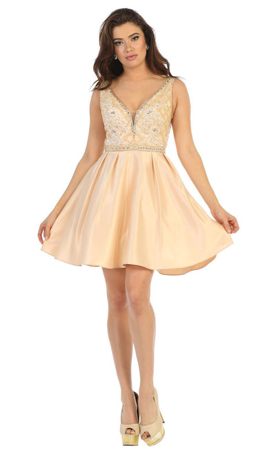 May Queen - MQ1645 Beaded V Neck Cocktail Dress In Champagne