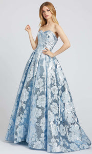 Mac Duggal - 66947L Metallic Floral Sweetheart Ballgown In Blue