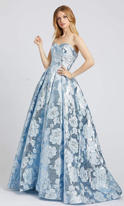 66947L Metallic Brocade Sweetheart Gown In Blue