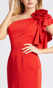 Mac Duggal - 66998I Ruffled One Shoulder Fitted Dress In Red