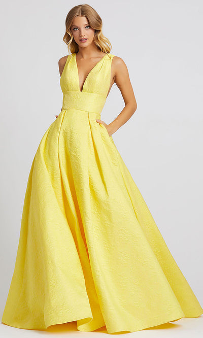 Mac Duggal - 67098A Plunging V-Neck Embossed A-Line Dress In Yellow