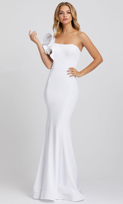 Mac Duggal - 67156I Ruffled One Shoulder Mermaid Dress In White