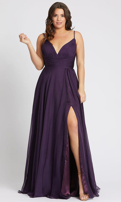 Mac Duggal - 67214F Plunging V Neck A-Line Gown In Purple