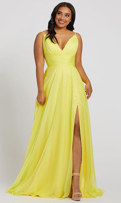 Mac Duggal - 67214F Plunging V Neck A-Line Gown In Yellow