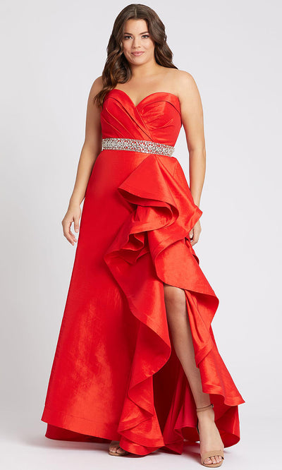 Mac Duggal - 67215F Ruffled Pleated Sweetheart A-Line Gown In Red