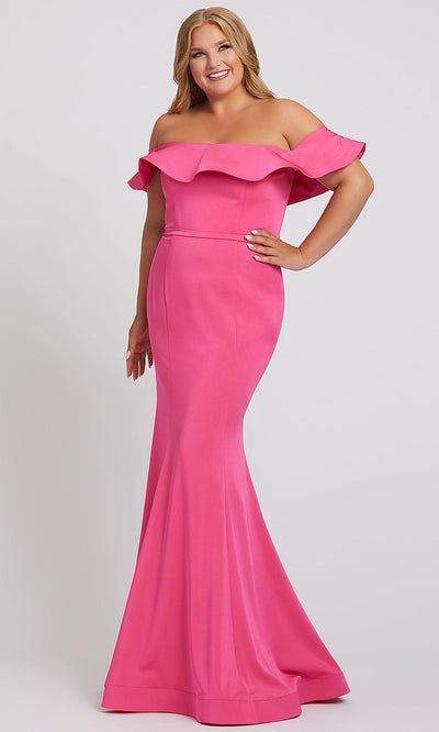 Mac Duggal - 67217F Ruffled Off Shoulder Mermaid Dress In Pink