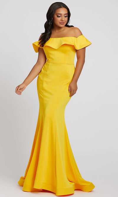 Mac Duggal - 67217F Ruffled Off Shoulder Mermaid Dress In Yellow