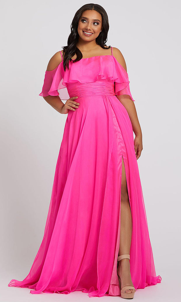 Mac Duggal - 67224F Ruffle Cold Shoulder Dress With Slit In Pink