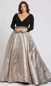Mac Duggal - 67229F Long Sleeve Wrap Bodice Metallic Dress