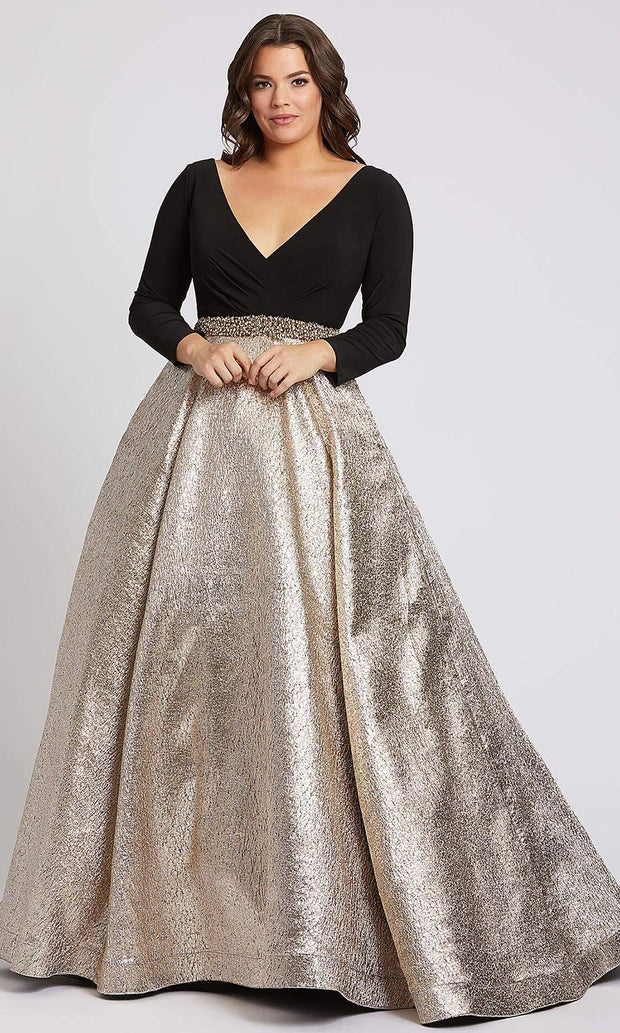 Mac Duggal - 67229F Long Sleeve Wrap Bodice Metallic Dress In Champagne & Gold
