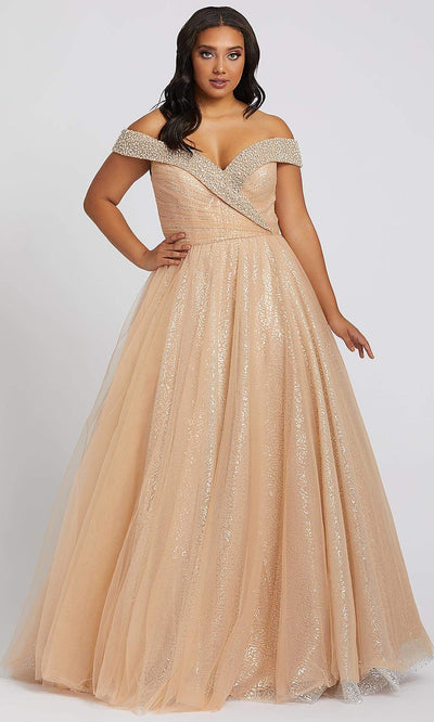 Mac Duggal - 67234F Jeweled Off Shoulder Sequin Tulle Dress In Champagne & Gold