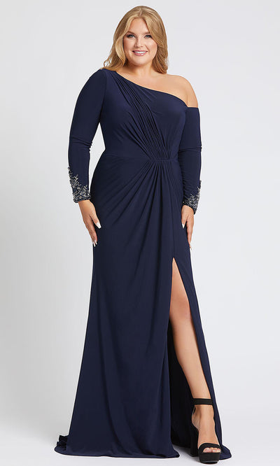 Mac Duggal - 67242F Long Sleeves Asymmetrical Gown With Slit In Blue