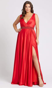 Mac Duggal - 67244F Deep V Neck Embellished A-Line Gown In Red