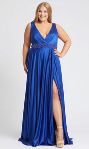Mac Duggal - 67244F Deep V Neck Embellished A-Line Gown In Blue