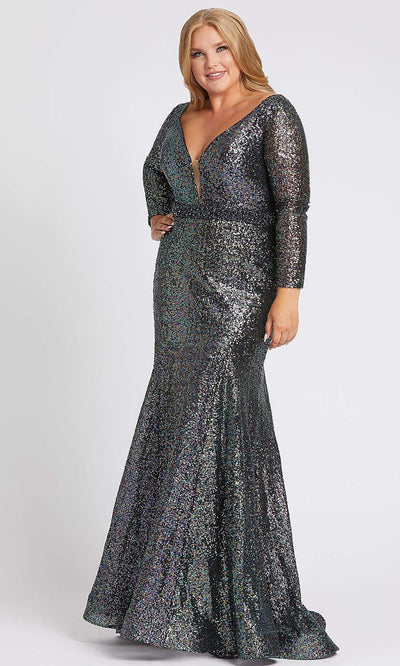Mac Duggal - 67246F Sequined Long Sleeve Mermaid Dress In Black