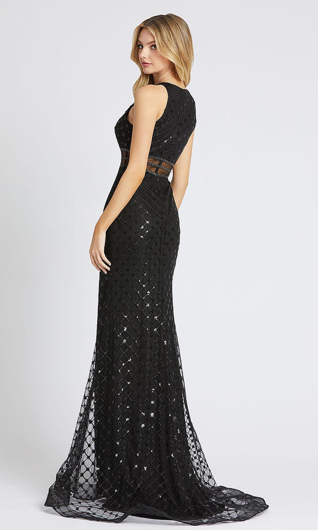 Mac Duggal - 67329L Sequin High Neck Sheath Evening Gown In Black