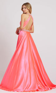 Mac Duggal - 67339L Beaded Neck And Waist Satin Gown In Pink