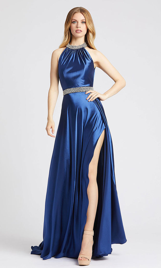 Mac Duggal - 67339L Beaded Neck And Waist Satin Gown In Blue