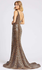 Mac Duggal - 67359A Sequined Animal Print High Slit Dress In Print