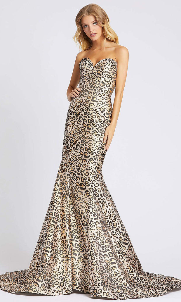 Mac Duggal - 67366A Strapless Cheetah Print Mermaid Dress In Print