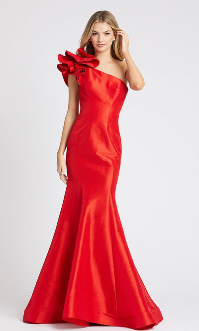 Mac Duggal - 67379L Ruffle One Shoulder Mermaid Evening Gown In Red