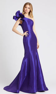 Mac Duggal - 67379L Ruffle One Shoulder Mermaid Evening Gown in Purple