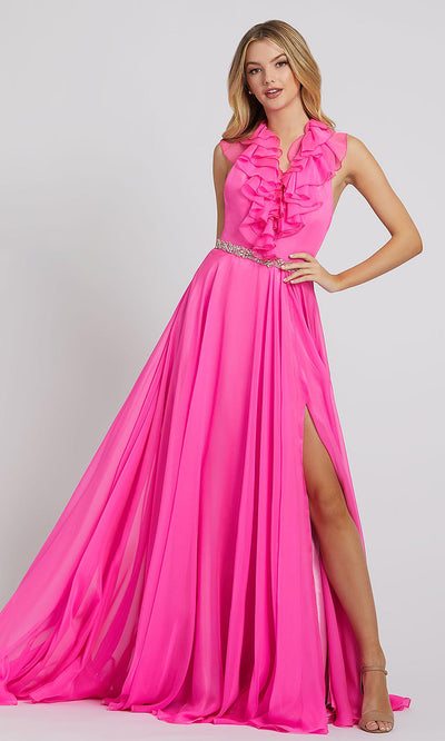 Mac Duggal - 67382L Ruffle V Neck A-Line Evening Gown In Pink