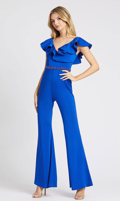 Mac Duggal - 67384L Ruffle V Neck Fitted Jumpsuit In Blue