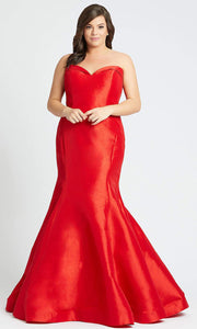 Mac Duggal - 67606F Strapless Stretch Taffeta Mermaid Dress In Red