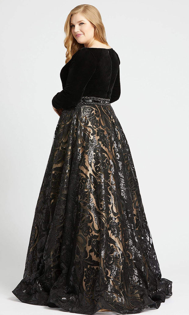 Mac Duggal - 67614F V Neck Long Sleeves Sequin Ballgown In Black
