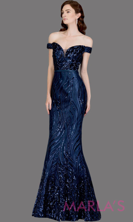 3474f4505847 Long navy fitted sequin beaded mermaid evening gown. This strapless evening  gown is perfect as